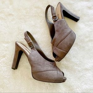 Naturalizer Gray Fabric Platform Heels 8